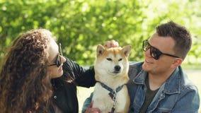Les propriétaires affectueux du bel inu de shiba de chien embrassent l'animal et le choient sur la tête tout en se reposant en pa banque de vidéos
