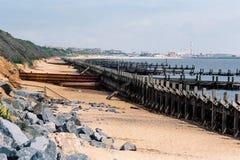 Les protections côtières en Norfolk, Angleterre photos libres de droits