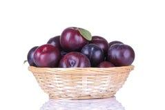 les prunes délicieuses mûres dans un panier en osier sur un blanc ont isolé le fond photographie stock libre de droits