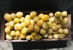 Les prunes fraîches moissonnent les fruits juteux doux mûrs dans une fin de boîte en bois  photos stock