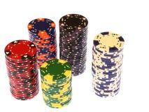Les puces de tisonnier ont empilé le casino   Images stock