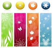 Les quatre graphismes et drapeaux de saisons illustration libre de droits