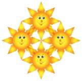 Les quatre soleils entrelacés heureux Photos stock