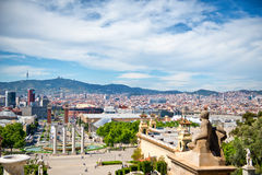 Les Quatres Columnes and View of Barcelona, Spain Stock Photo