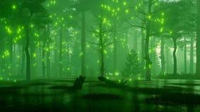 Les quirlandes électriques sur une forêt de nuit d'imagination inondent 4K illustration libre de droits