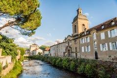 Les Récollets kościół w świętym Céré Francja przy zmierzchem Fotografia Royalty Free