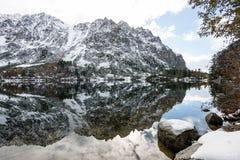 Les réflexions dans le lac calme arrosent avec la neige et les montagnes Images libres de droits