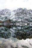 Les réflexions dans le lac calme arrosent avec la neige et les montagnes Photo libre de droits