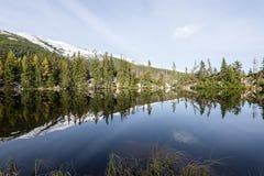 Les réflexions dans le lac calme arrosent avec la neige et les montagnes Images stock