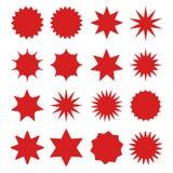 Les rétros étoiles, rouge de rayon de soleil rayonne le feu d'artifice Éléments de conception Meilleur à vendre l'autocollant, pr illustration libre de droits