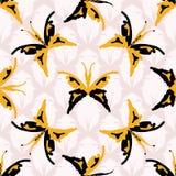 Les rétros années 1960 dénomment le modèle sans couture de vecteur de papillons illustration libre de droits