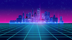 Les rétros années 1980 futuristes de ville de gratte-ciel dénomment l'illustration 3d Image libre de droits