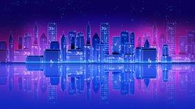 Les rétros années 1980 futuristes de ville de gratte-ciel dénomment l'illustration 3d illustration libre de droits