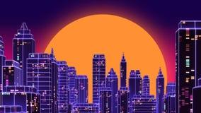 Les rétros années 1980 futuristes de ville de gratte-ciel dénomment l'illustration 3d Photographie stock libre de droits