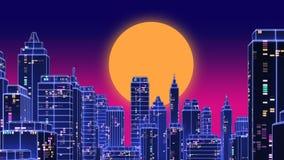Les rétros années 1980 futuristes de ville de gratte-ciel dénomment l'illustration 3d Photographie stock