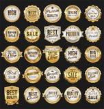 Les rétros insignes d'or et les labels de vente superbe dirigent la collection Image stock