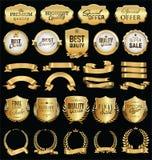 Les rétros insignes d'or et les labels de vente superbe dirigent la collection Images stock