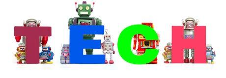 Les rétros jouets de robot de bidon retardent le mot TECH d'isolement Photographie stock libre de droits