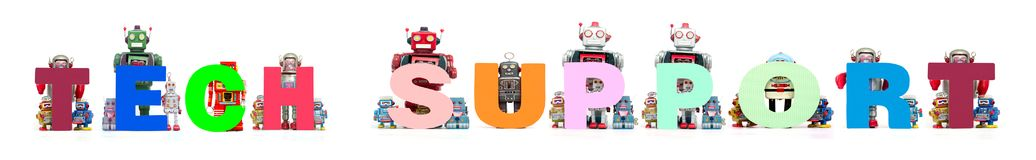 Les rétros jouets de robot de bidon retardent les mots SUPPORT TECHNIQUE Image libre de droits