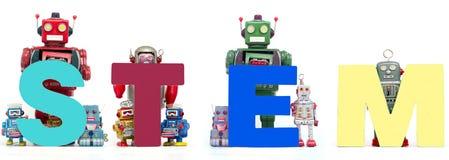 Les rétros jouets de robot de bidon supportent la TIGE d'acronymes solated photo stock