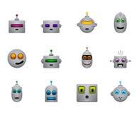 Les rétros smilies drôles de robots ont placé avec des visages de couleur Photographie stock