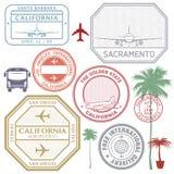 Les rétros timbres d'aéroport des Etats-Unis d'affranchissement ont placé l'état de la Californie Images stock