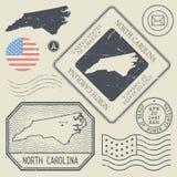 Les rétros timbres-poste de vintage ont placé la Caroline du Nord, Etats-Unis Image stock