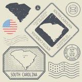 Les rétros timbres-poste de vintage ont placé la Caroline du Sud, Etats-Unis Photos stock