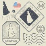 Les rétros timbres-poste de vintage ont placé New Hampshire, Etats-Unis Images libres de droits