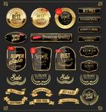 Les r?tros labels d'or et les boucliers de rubans dirigent la collection illustration stock