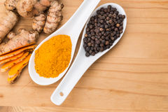 Les racines de safran des indes et le mélange de poivre noir augmente la curcumine ab Photographie stock libre de droits