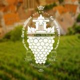 Les raisins se rassemblent avec la feuille et la presse de vintage  Le label de vin sur le vignoble et la ville a brouillé le fon Photographie stock