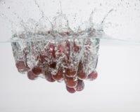 Les raisins tombent dans l'eau Image stock