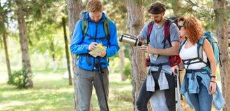 Les randonneurs regardent la carte dans la coupure de la marche Photographie stock libre de droits