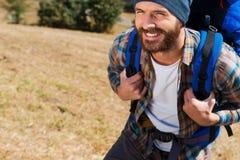 Les randonneurs sont les plus heureux ! Image libre de droits