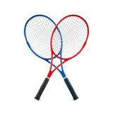 Les raquettes de tennis bleues et rouges ont isolé le blanc Images stock