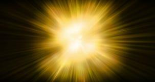 Les rayons lumineux de fusée de lentille de couleur chaude d'or de résumé clignote mouvement d'onde de choc d'explosion de fuite  illustration de vecteur