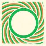 Les rayures de Swirly conçoivent avec le label dans des couleurs nationales irlandaises Photographie stock libre de droits