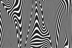 Les rayures onduleuses modèlent le fond des lignes abstraites noires et blanches incurvées tordues fond d'ondulation Courbes 3D à illustration libre de droits