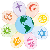 Les religions du monde ont uni le symbole de fleur de paix Images stock