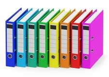 Les reliures à anneaux colorées Photo stock