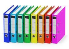Les reliures à anneaux colorées Image libre de droits