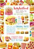 Les repas et les casse-croûte d'hamburgers d'aliments de préparation rapide dirigent l'affiche Photographie stock