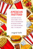 Les repas ou les casse-croûte de restaurant d'aliments de préparation rapide dirigent l'affiche Images libres de droits