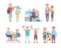 Les retraités gériatriques de retraités de soin et les caractères supérieurs heureux de vieillesse de femme dirigent l'illustrati Images libres de droits