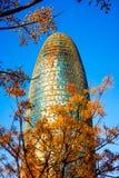 Les ries iconiques a de ² de Torre Glà k a Gratte-ciel de Torre Agbar à Barcelone Images stock