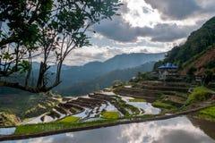 les Riz-terrasses s'approchent du Poitan-village Image libre de droits