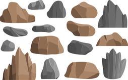 Les roches et les pierres dirigent des icônes construisant les montagnes minérales de géologie d'illustration de vecteur de pile Images stock