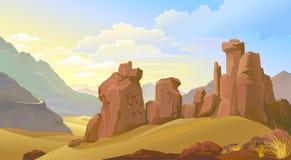 Les roches et les montagnes superficielles par les agents sur les sables d'un désert illustration libre de droits
