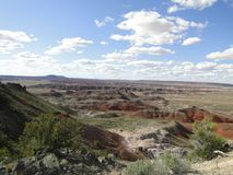 Les roches rouges aménagent en parc au parc national de forêt pétrifiée Photographie stock libre de droits